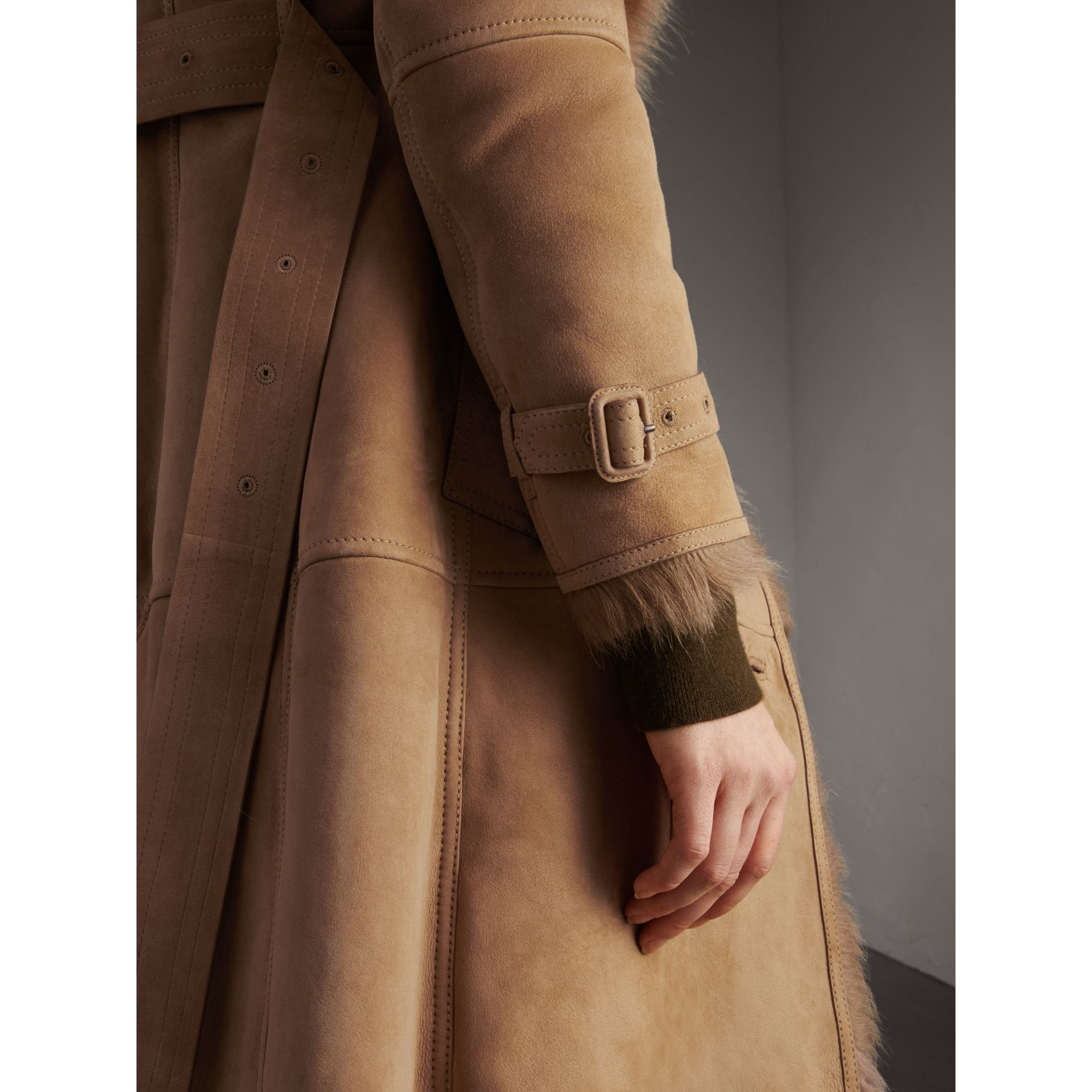 Shearling Trench Coat in Camel - Women | Burberry - gallery image 2