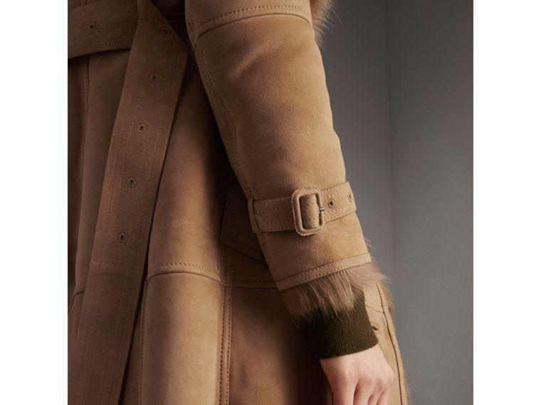Shearling Trench Coat in Camel - Women | Burberry - cell image 1