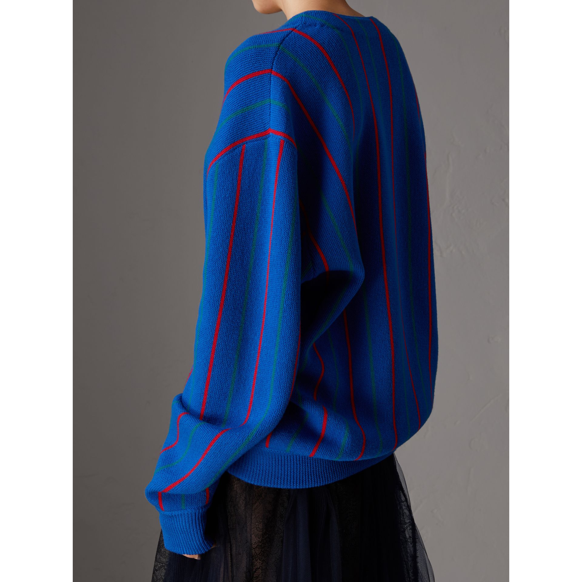 Reissued Striped Wool Cardigan in Royal Blue - Women | Burberry Australia - gallery image 2