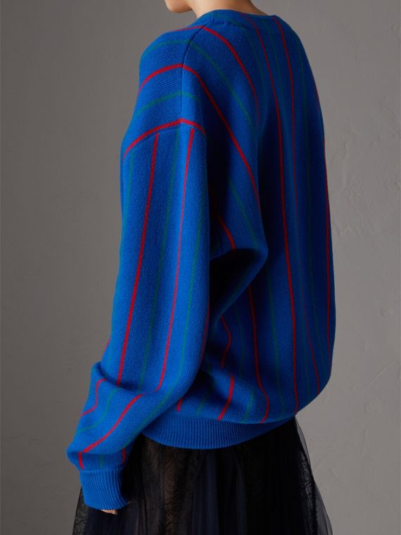 Reissued Striped Wool Cardigan in Royal Blue - Women | Burberry Australia - cell image 2