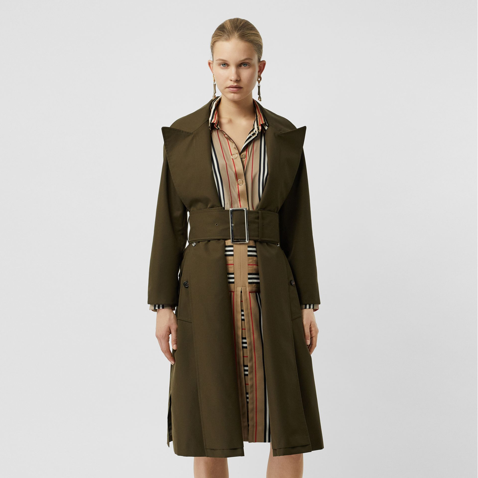 Side-slit Cotton Gabardine Belted Coat in Dark Military Khaki - Women | Burberry - gallery image 4