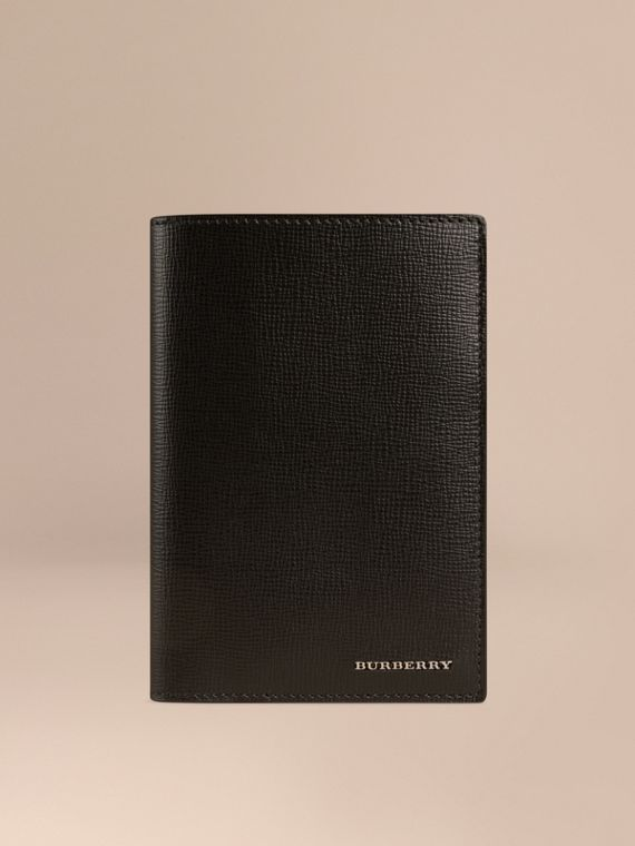 London Leather Passport Cover Black