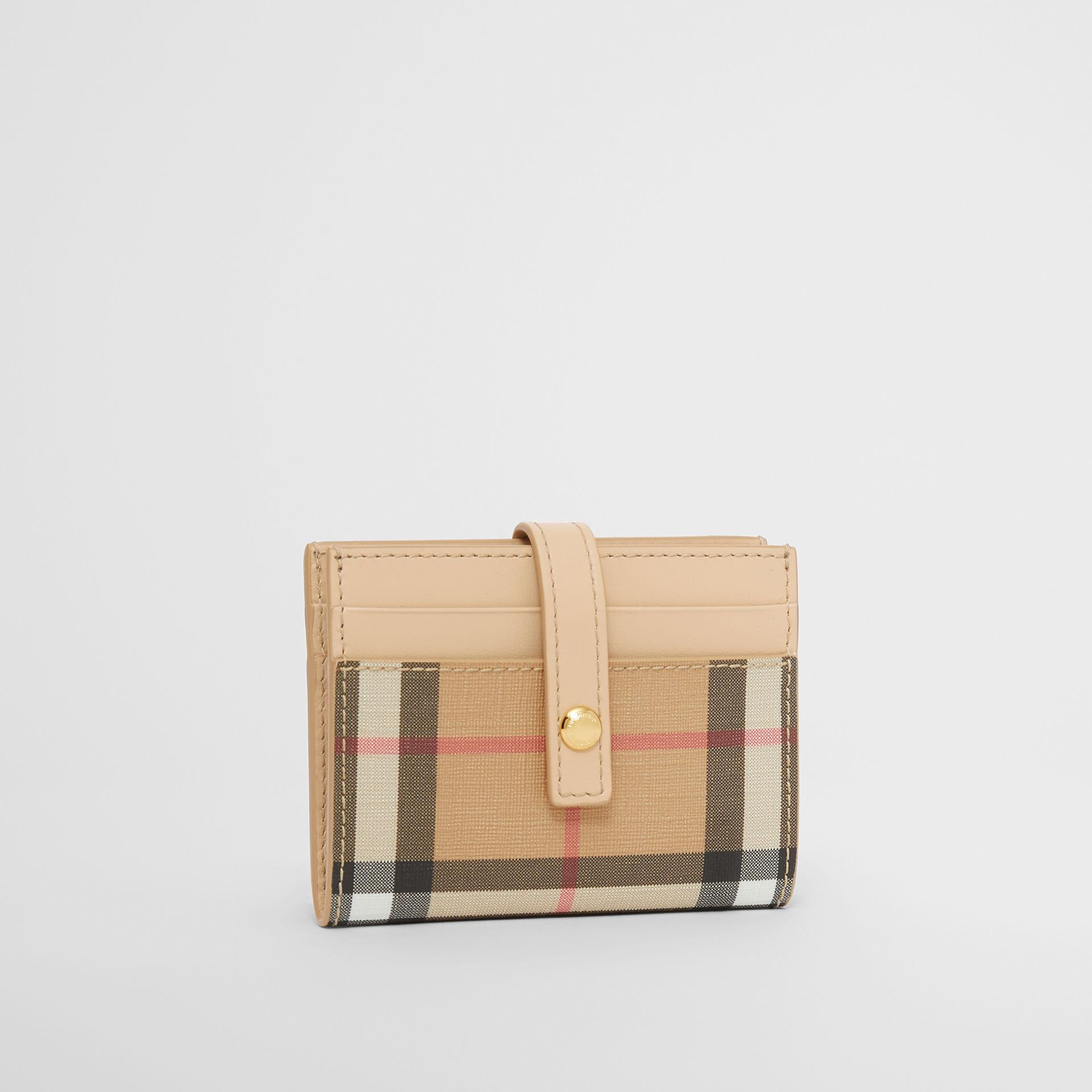Vintage Check E-canvas Folding Card Case in Beige - Women | Burberry - gallery image 3