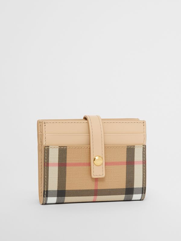 Vintage Check E-canvas Folding Card Case in Beige - Women | Burberry - cell image 3