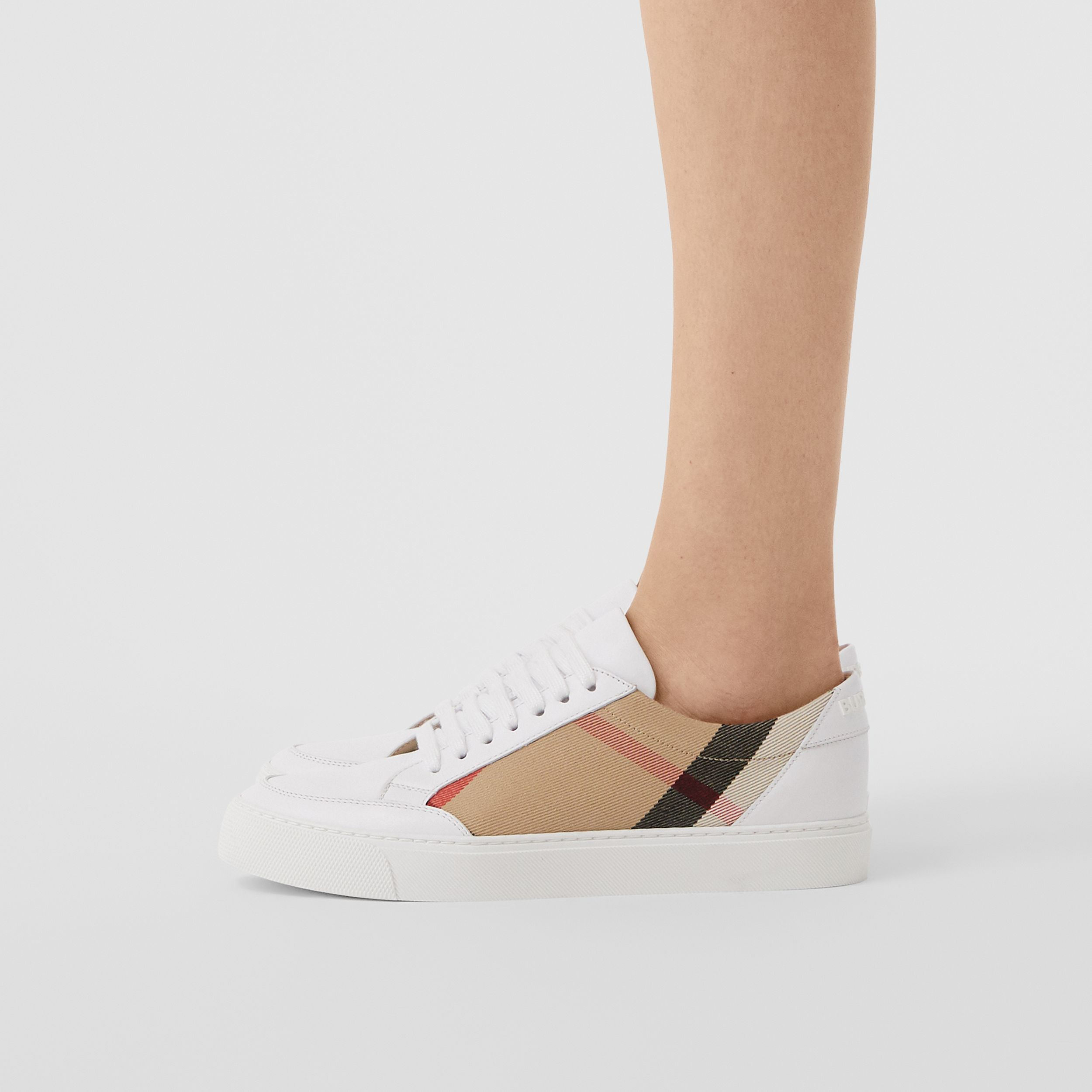 House Check and Leather Sneakers in Optic White - Women | Burberry - 3