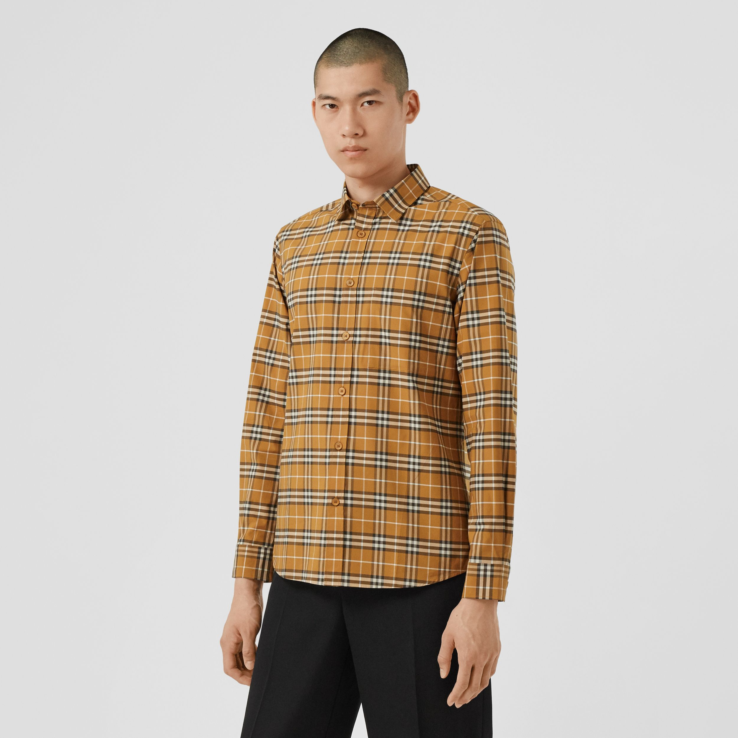 Small Scale Check Stretch Cotton Shirt in Bright Toffee - Men | Burberry Hong Kong S.A.R. - 1