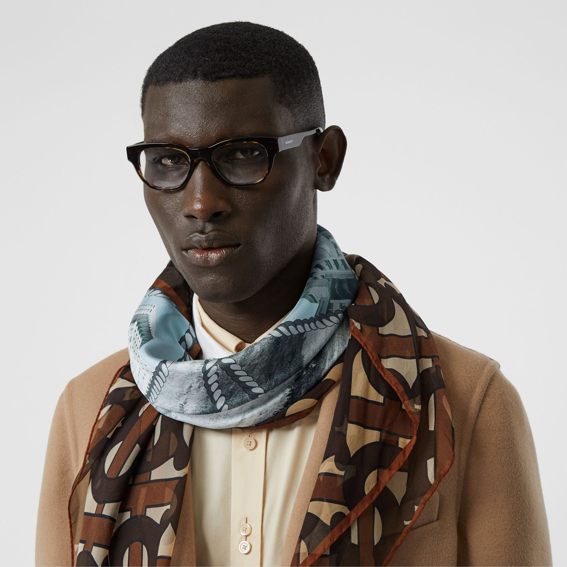 Rigging and Monogram Print Silk Large Square Scarf in Dark Mocha | Burberry United States - gallery image 2