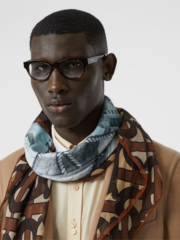 Rigging and Monogram Print Silk Large Square Scarf in Dark Mocha | Burberry United States - cell image 2