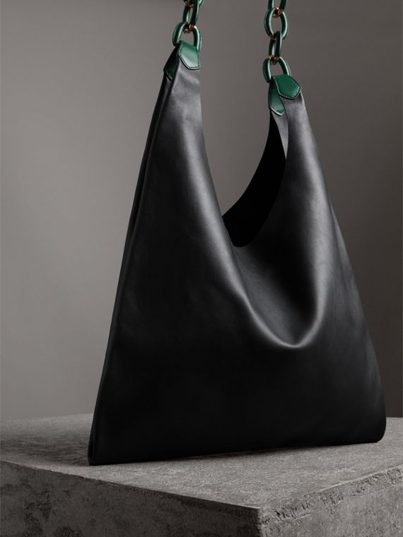 Medium Two-tone Leather Shopper in Black - Women | Burberry Hong Kong - cell image 2