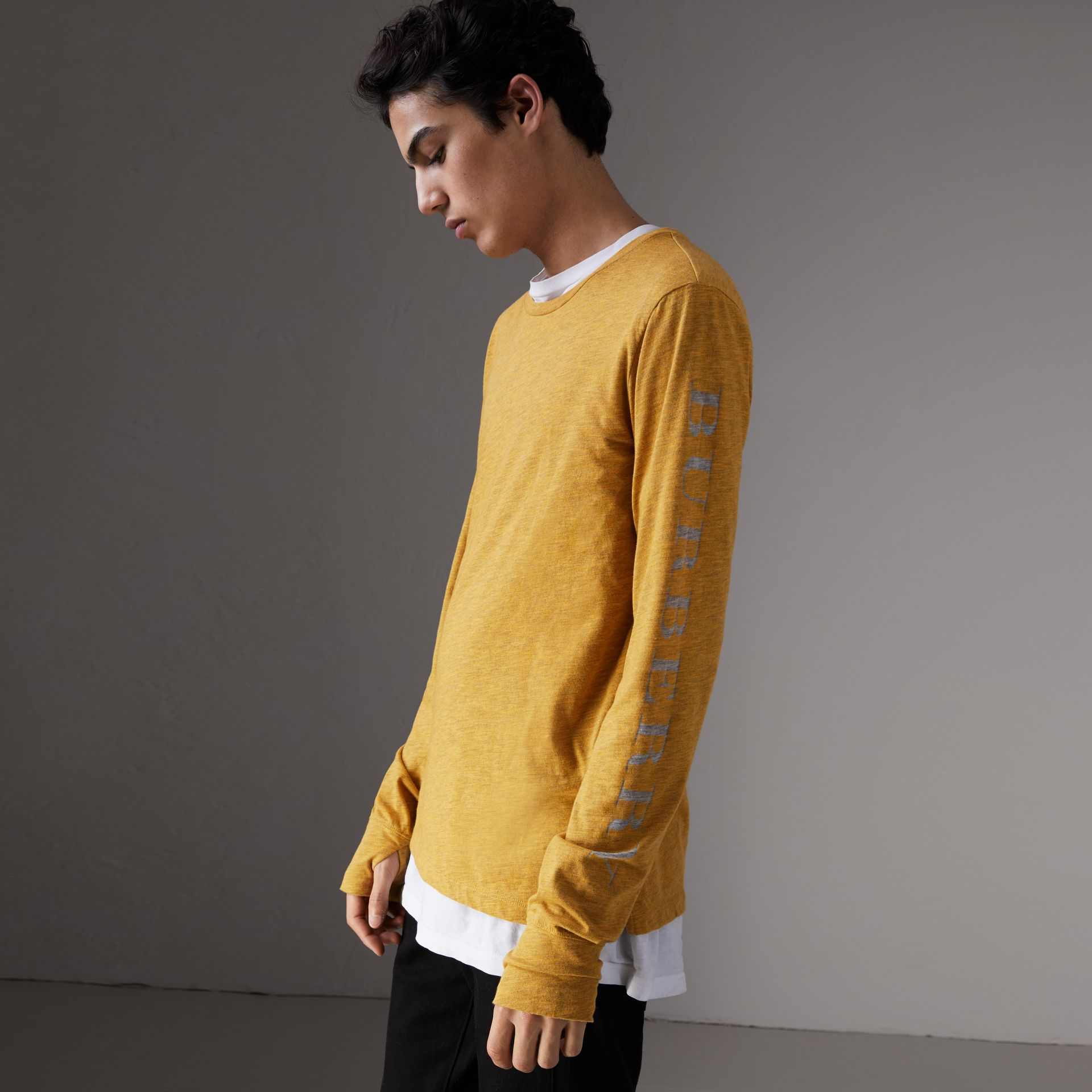 Devoré Jersey Top in Bright Yellow Melange - Men | Burberry Singapore - gallery image 0