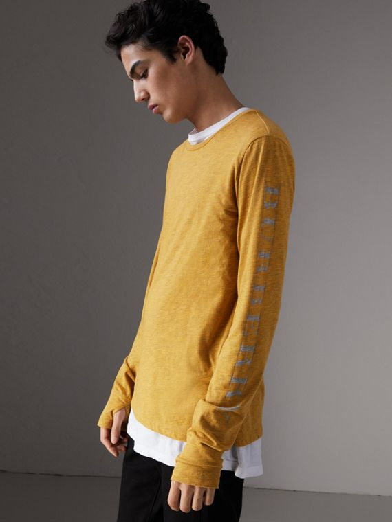 Devoré Jersey Top in Bright Yellow Melange