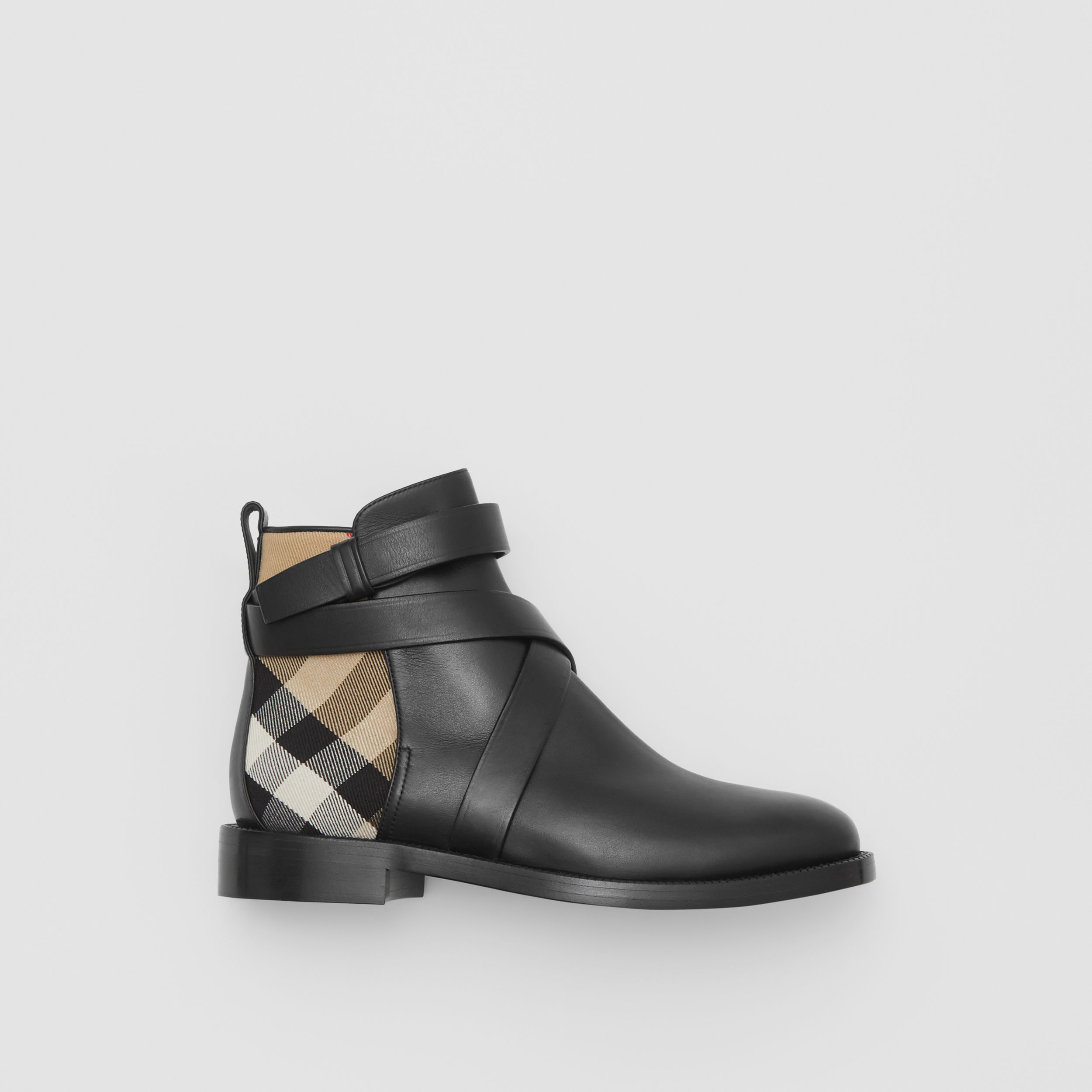 House Check and Leather Ankle Boots in Black/archive Beige - Women | Burberry - 1