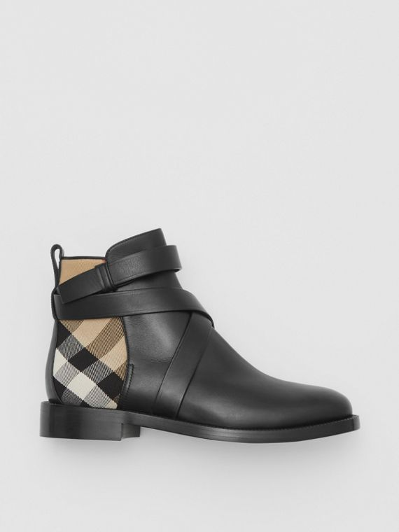 House Check and Leather Ankle Boots in Black/archive Beige