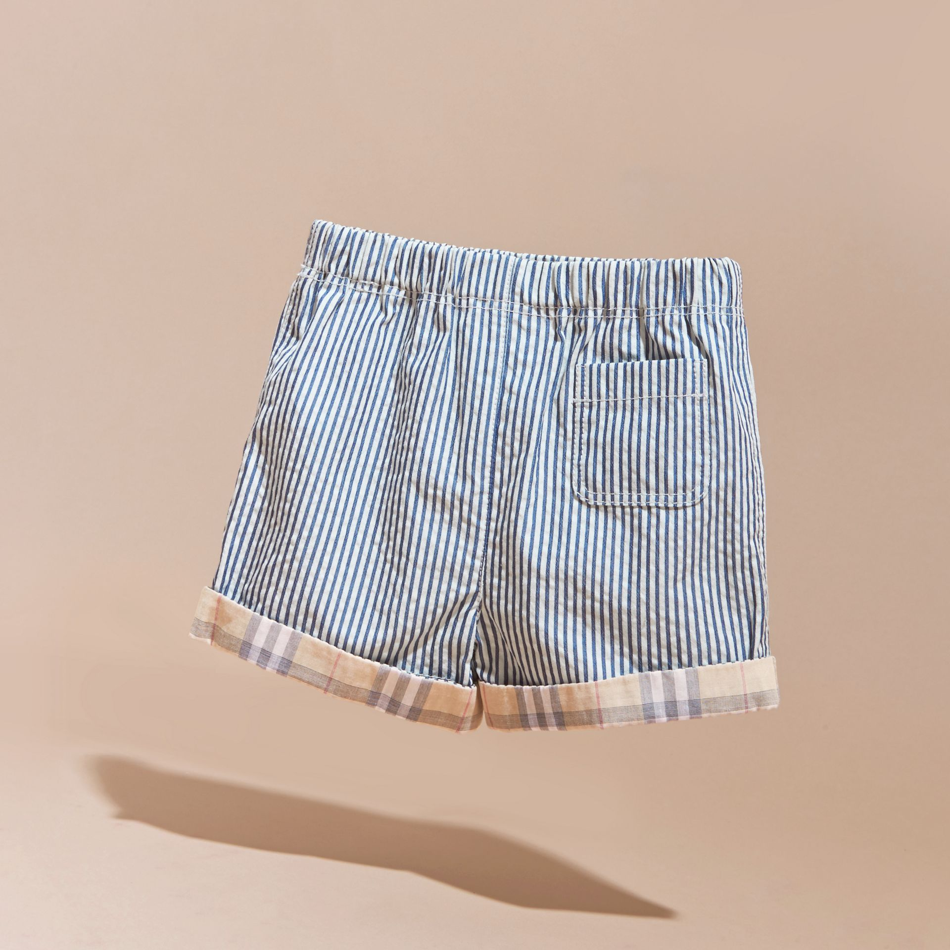Striped Cotton Blend Shorts with Check Cuffs | Burberry - gallery image 4