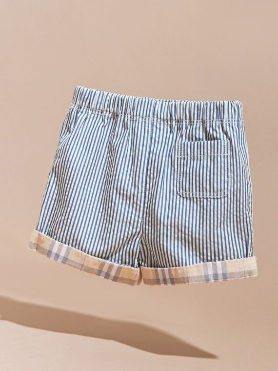Striped Cotton Blend Shorts with Check Cuffs | Burberry Australia - cell image 3