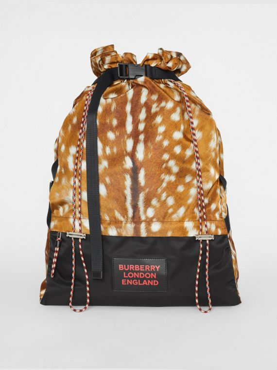 Deer Print Nylon Drawcord Backpack in Tan/white