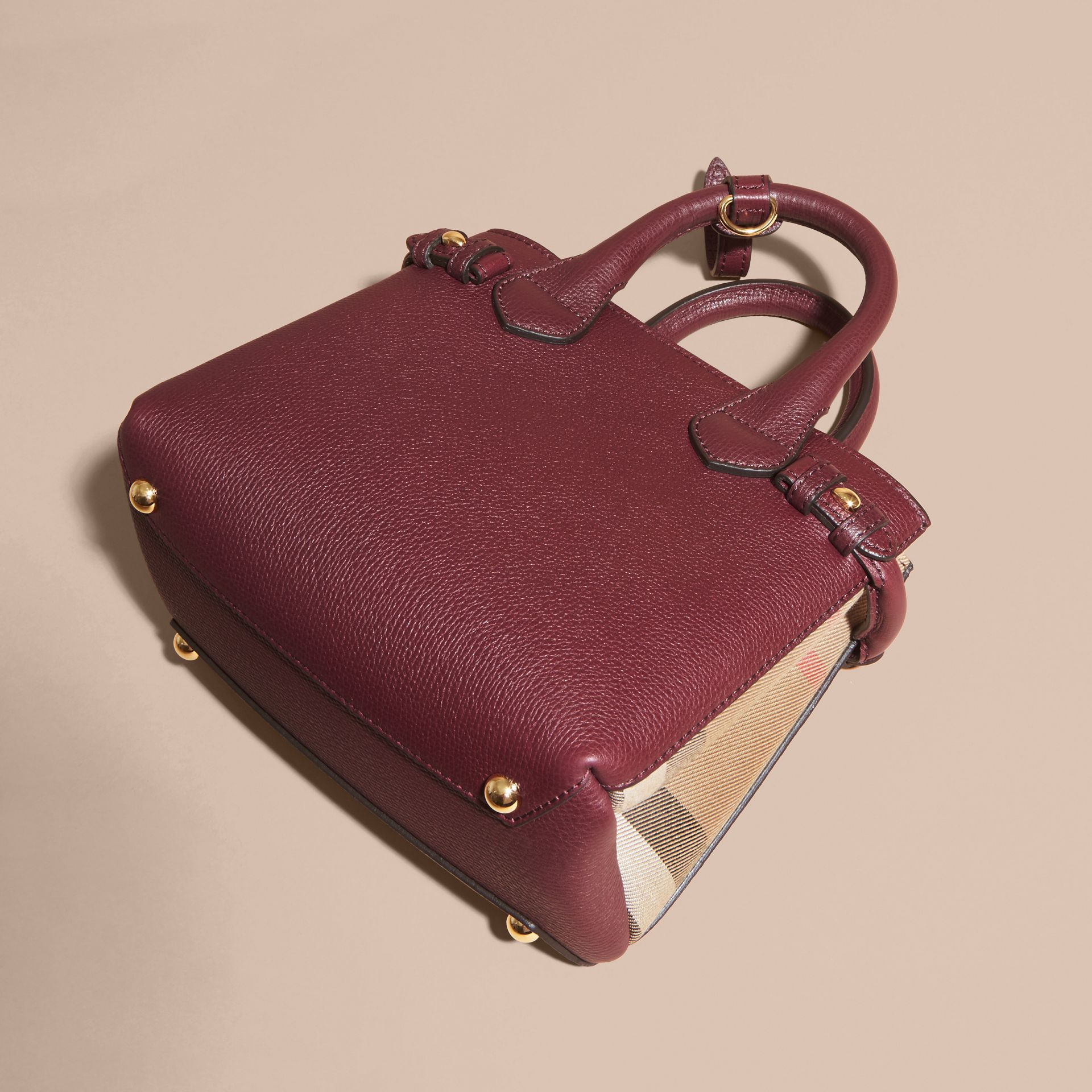 The Baby Banner in Leather and House Check in Mahogany Red - Women | Burberry - gallery image 5