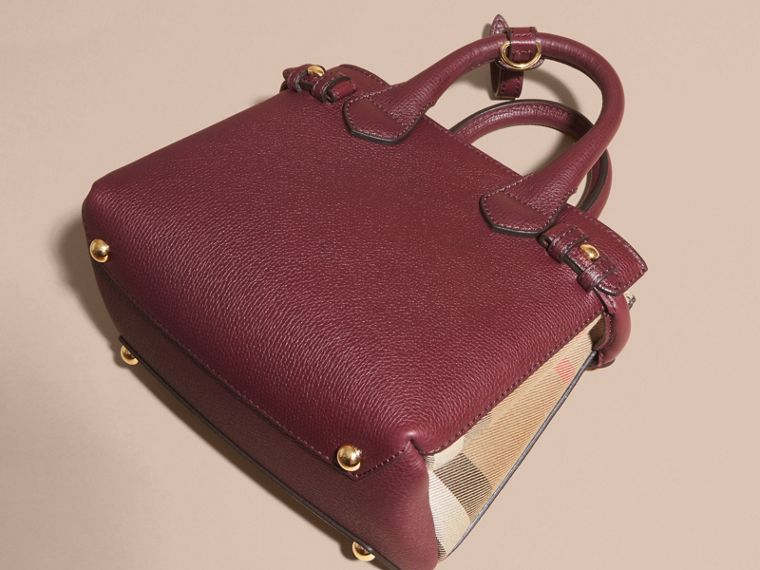 The Baby Banner in Leather and House Check in Mahogany Red - Women | Burberry Canada - cell image 4