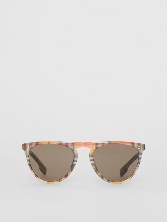 Vintage Check Keyhole D-shaped Sunglasses in Antique Yellow