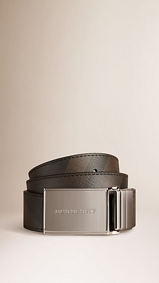 Reversible Smoked Check and Leather Plaque Belt