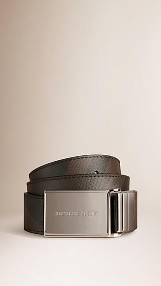 Cinto reversível de couro com fivela de placa e padrão Smoked Check