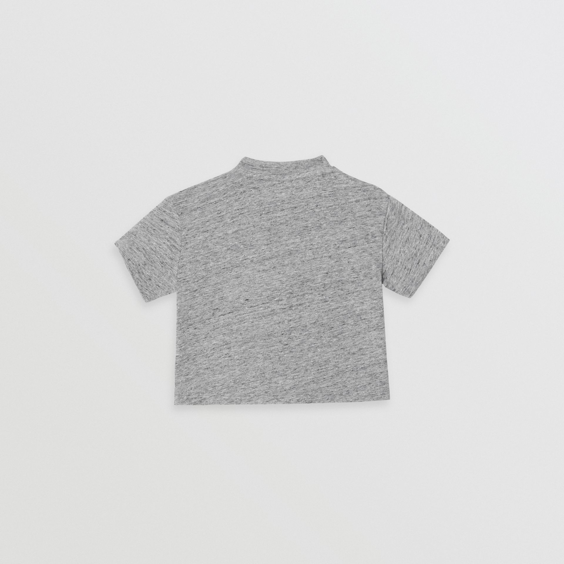 Logo Print Cotton Blend Jersey T-shirt in Grey Melange - Children | Burberry Singapore - gallery image 3