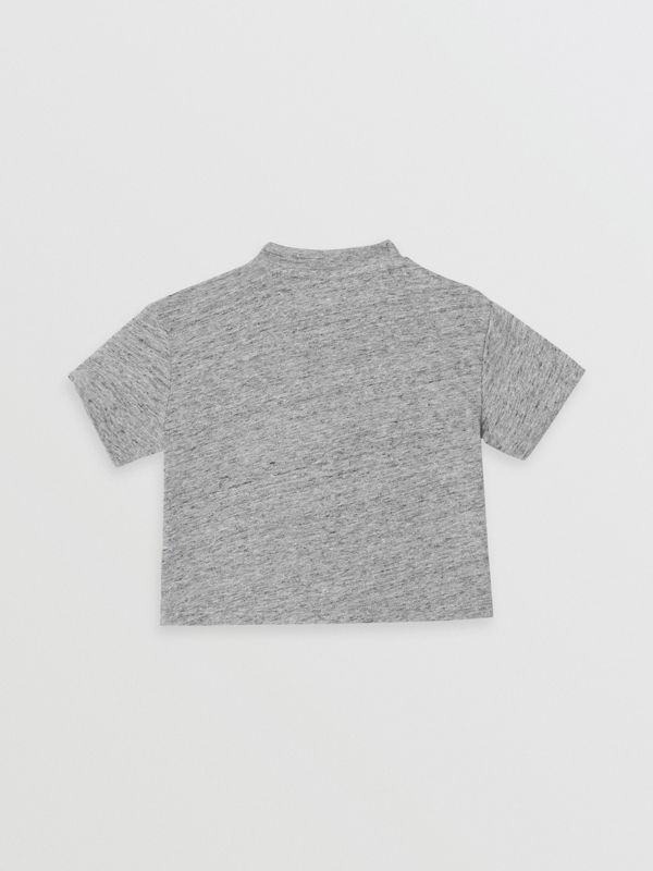 Logo Print Cotton Blend Jersey T-shirt in Grey Melange - Children | Burberry Canada - cell image 3