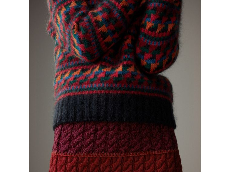 Hand-crocheted Detail Cashmere Wool Blend Skirt in Multicolour - Women | Burberry - cell image 1