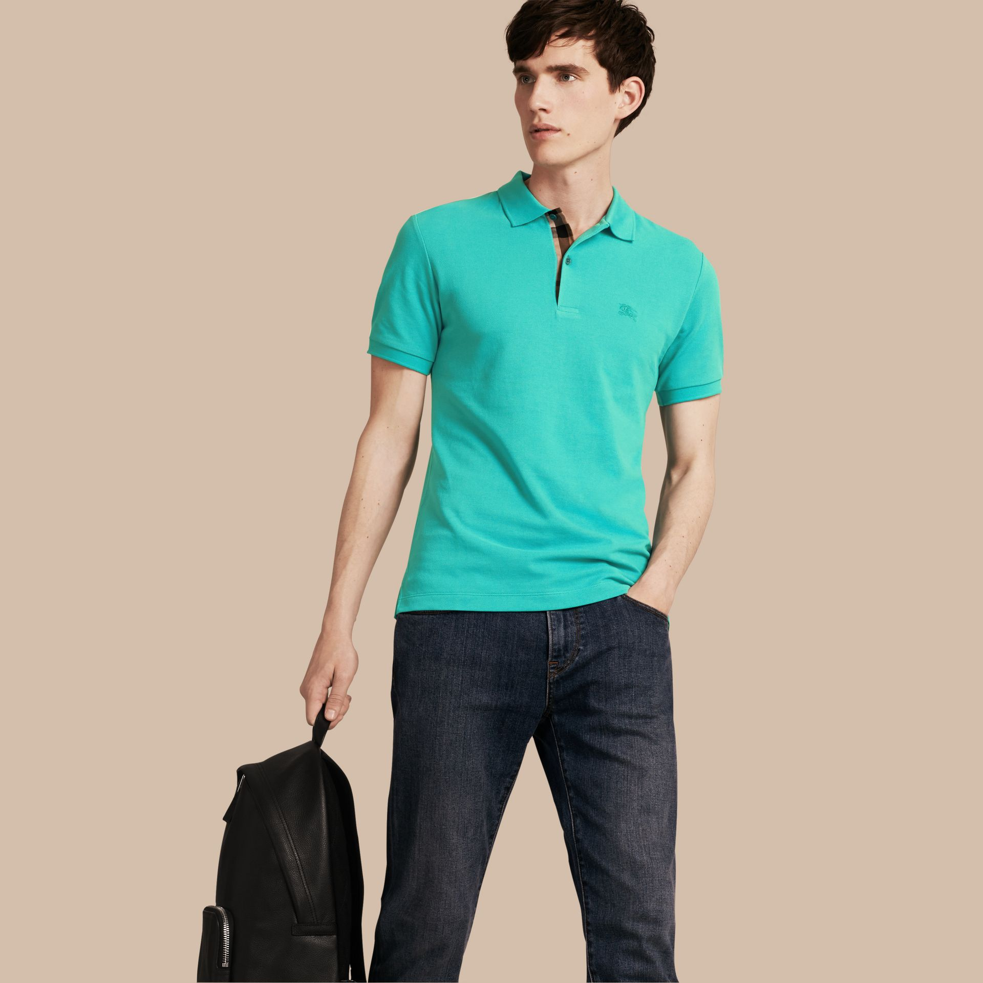 Turquoise green Check Placket Cotton Piqué Polo Shirt Turquoise Green - gallery image 1
