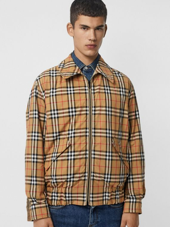 Reversible Gabardine and Check Harrington Jacket in Honey