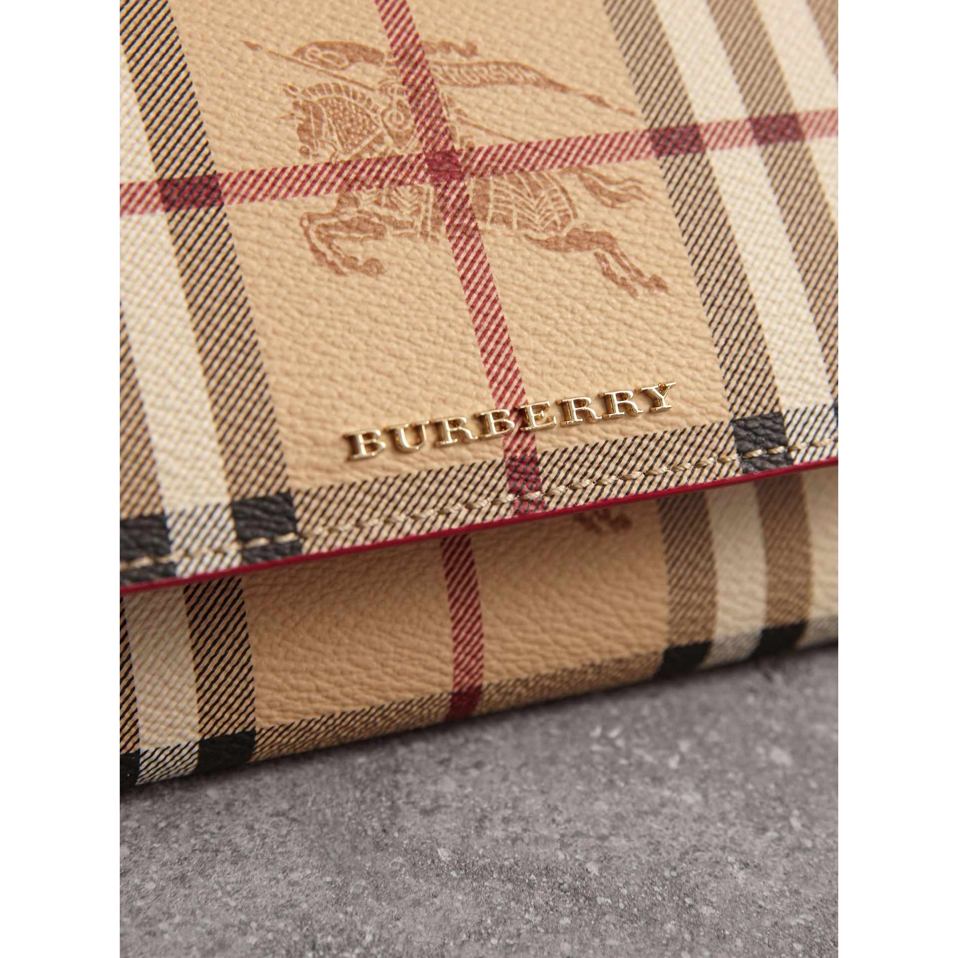 Leather Trim Haymarket Check Wallet with Chain in Coral Red - Women | Burberry - gallery image 1