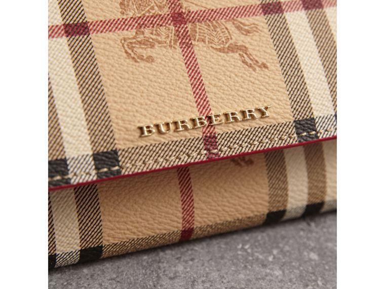 Leather Trim Haymarket Check Wallet with Chain in Coral Red - Women | Burberry - cell image 1
