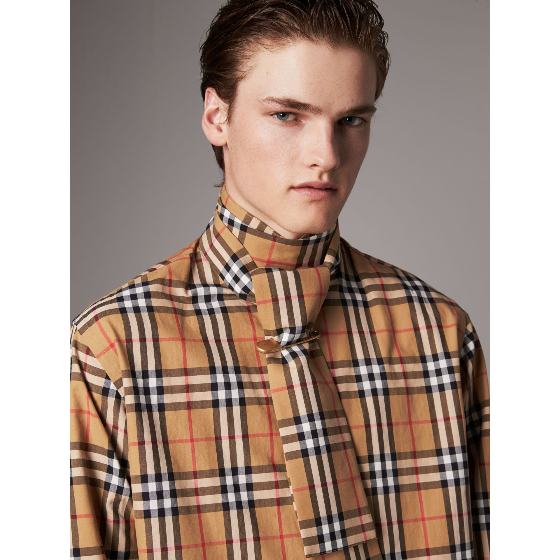 Vintage Check Cotton Tie-neck Riding Shirt in Antique Yellow - Men | Burberry - gallery image 1