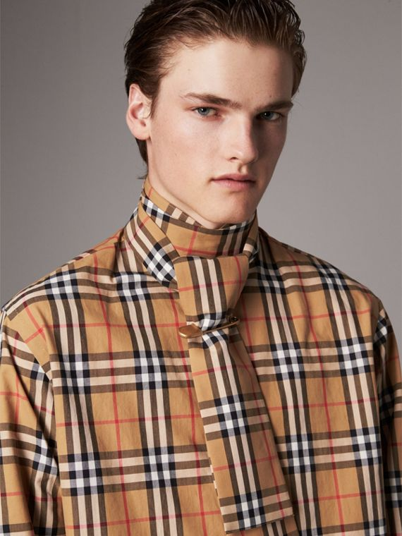 Vintage Check Cotton Tie-neck Riding Shirt in Antique Yellow