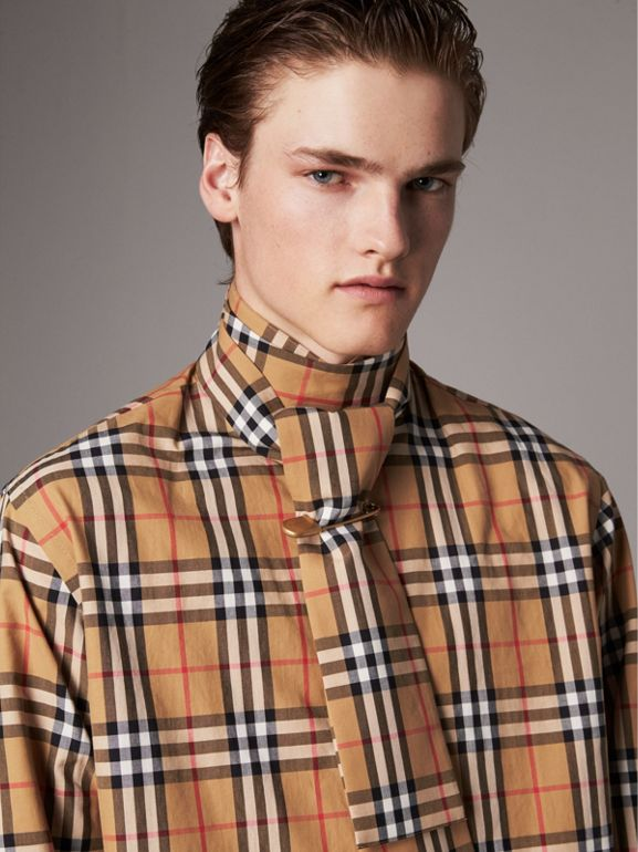 Vintage Check Cotton Tie-neck Riding Shirt in Antique Yellow - Men | Burberry - cell image 1
