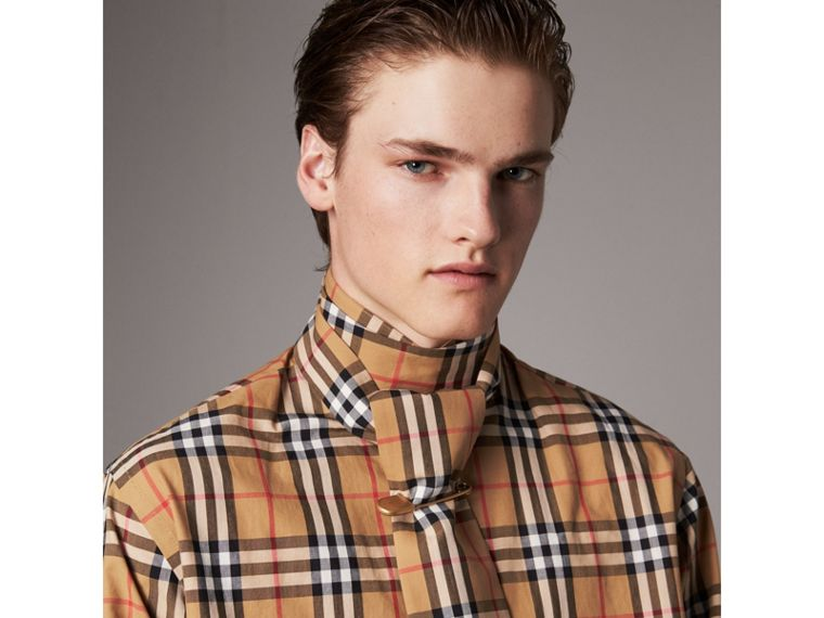 Vintage Check Cotton Tie-neck Riding Shirt in Antique Yellow - Men | Burberry United States - cell image 1
