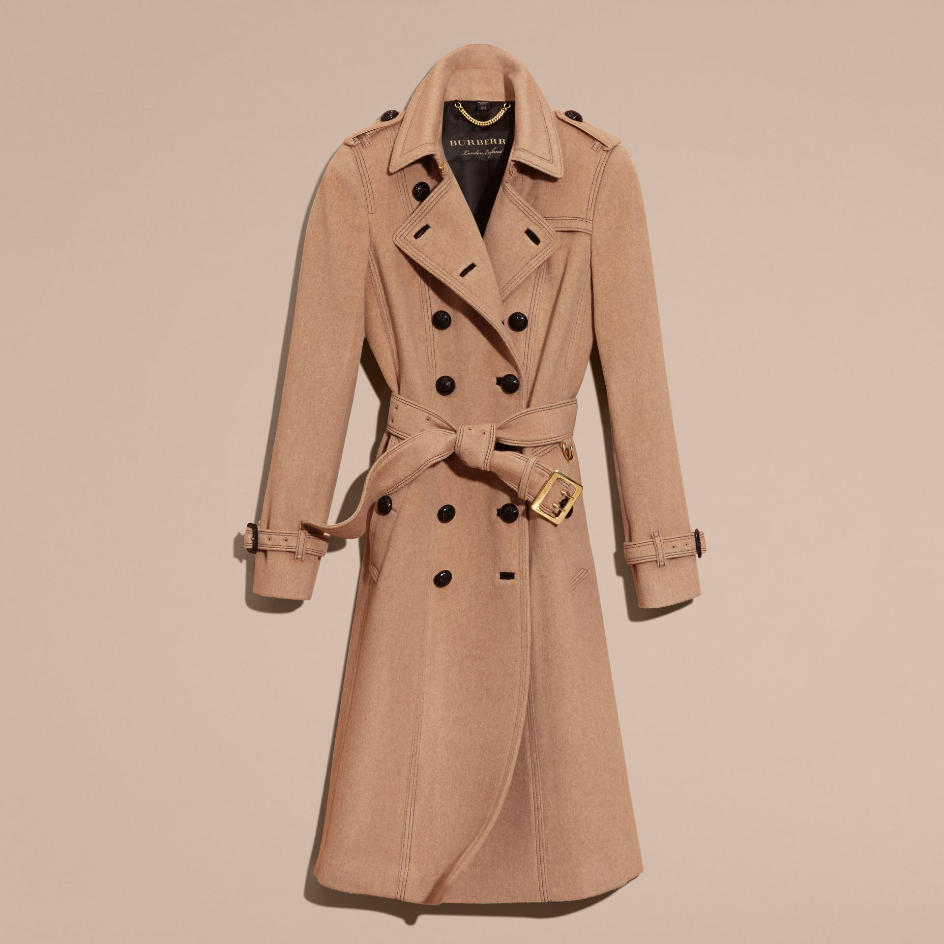 Camel Slim Fit Wool Cashmere Trench Coat - gallery image 4