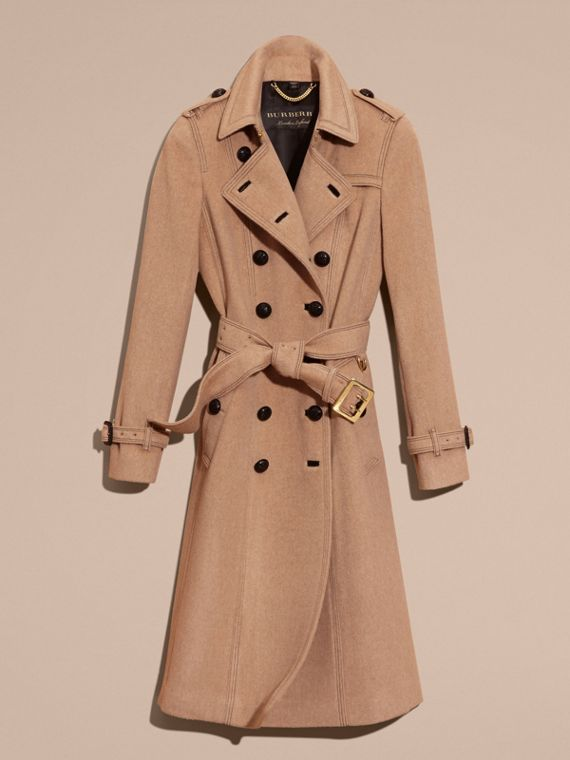 Camel Slim Fit Wool Cashmere Trench Coat - cell image 3