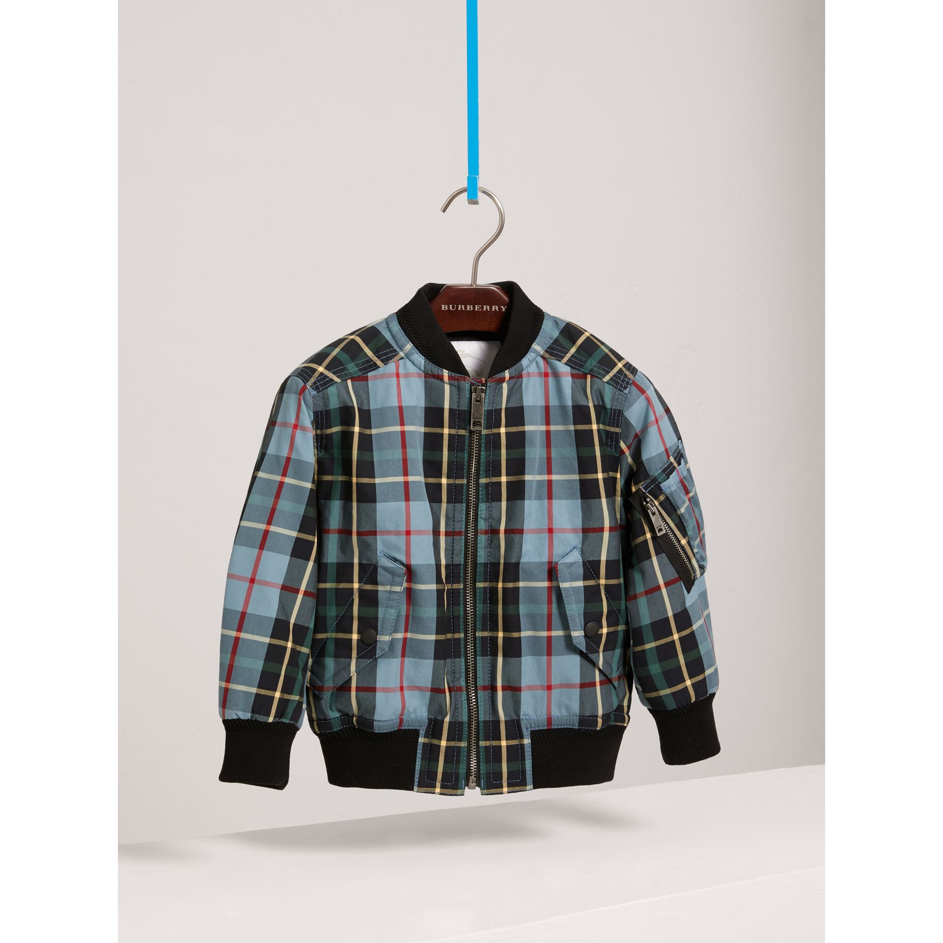 Quilted Tartan Cotton Gabardine Bomber Jacket in Cyan Blue - Boy | Burberry - gallery image 2