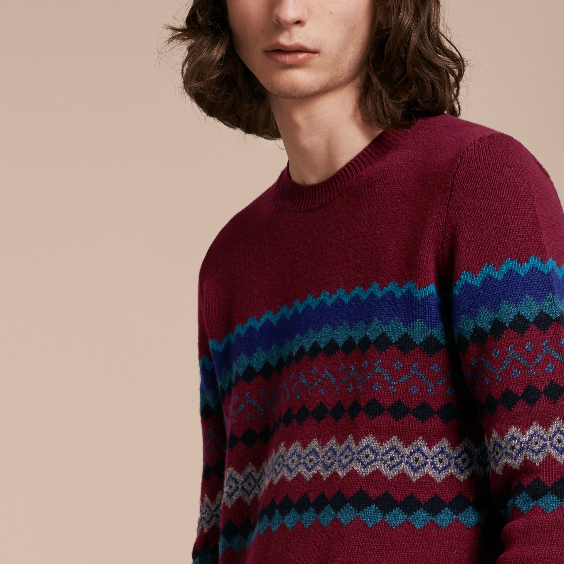 Burgundy Fair Isle Intarsia Cashmere Wool Sweater - gallery image 5