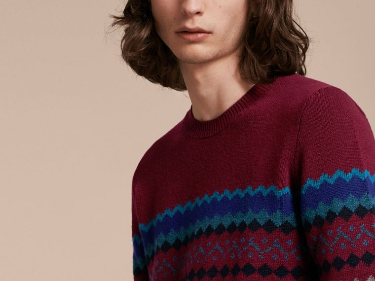 Burgundy Fair Isle Intarsia Cashmere Wool Sweater - cell image 4