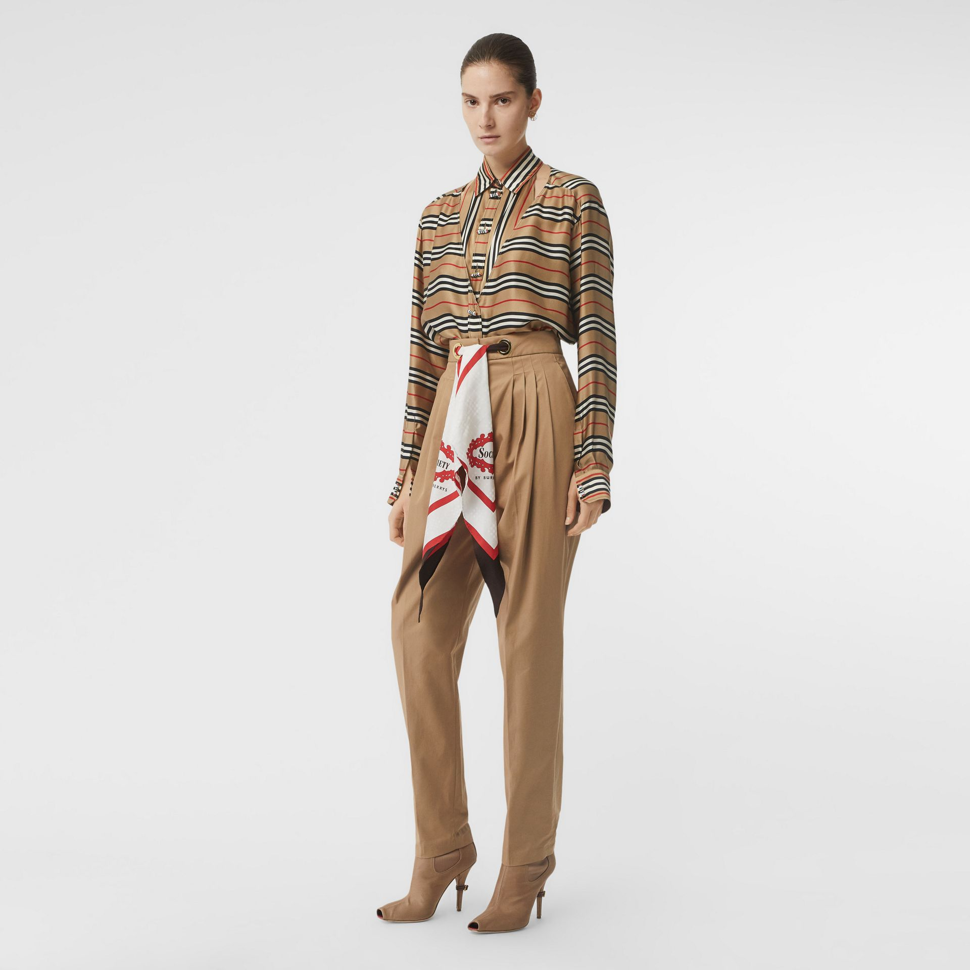 Cut-out Detail Icon Stripe Silk Shirt in Archive Beige - Women | Burberry - gallery image 0