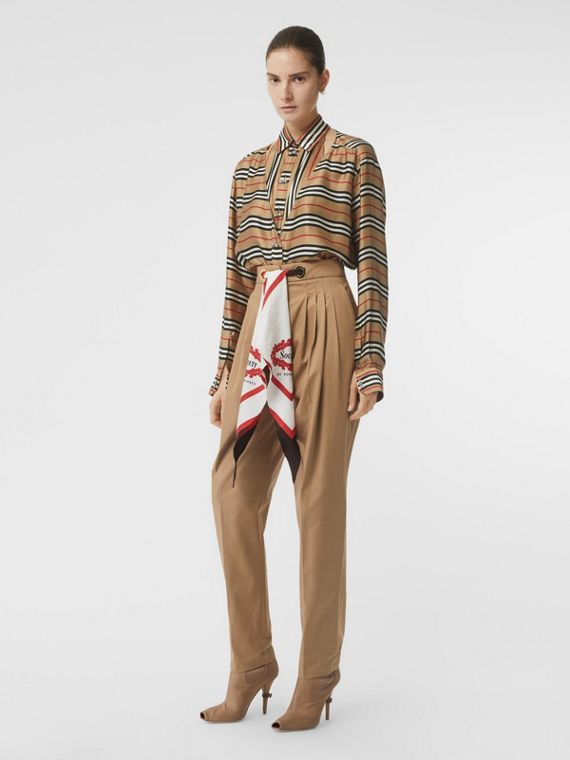 Cut-out Detail Icon Stripe Silk Oversized Shirt in Archive Beige