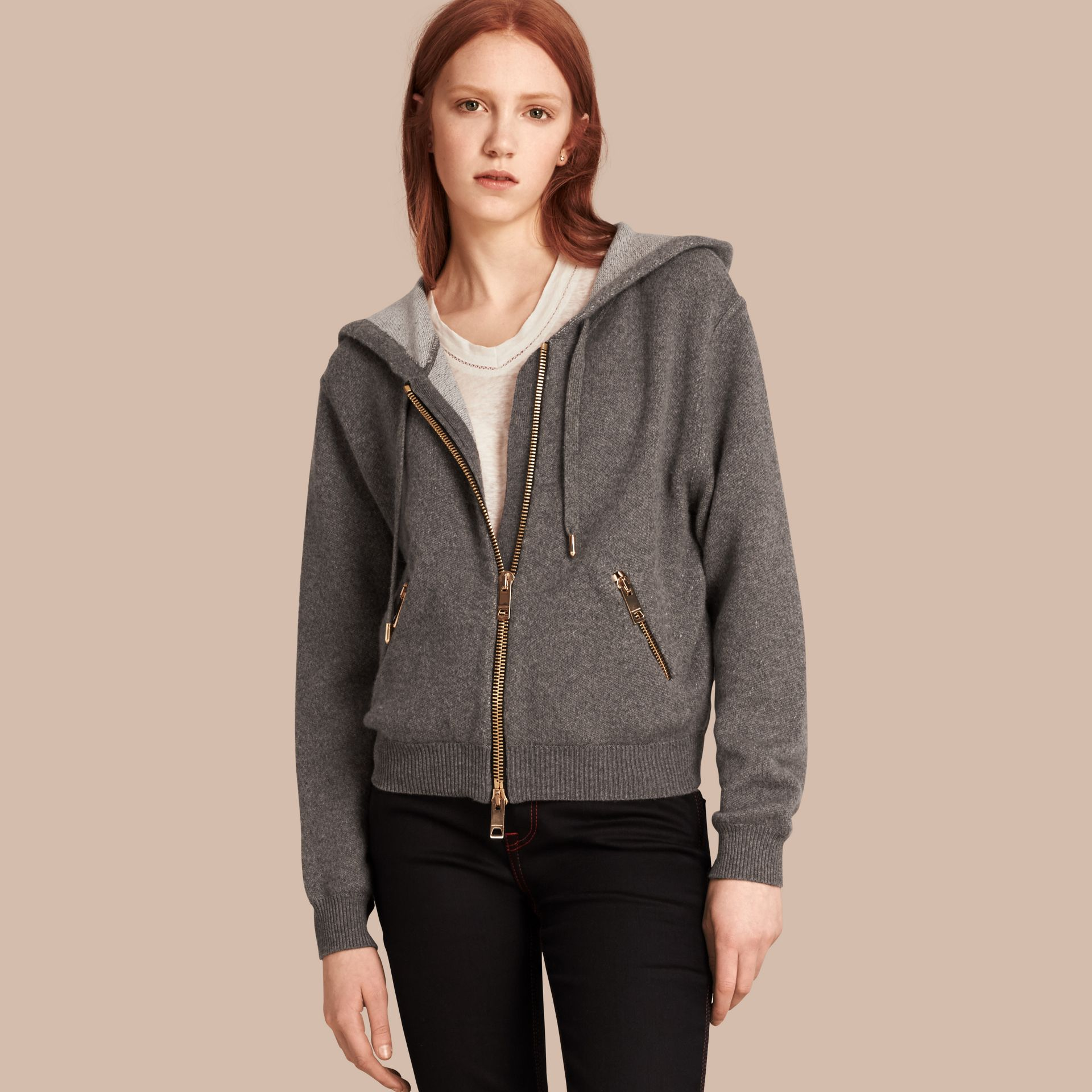 Dark grey melange Hooded Cashmere Cotton Jacket - gallery image 1