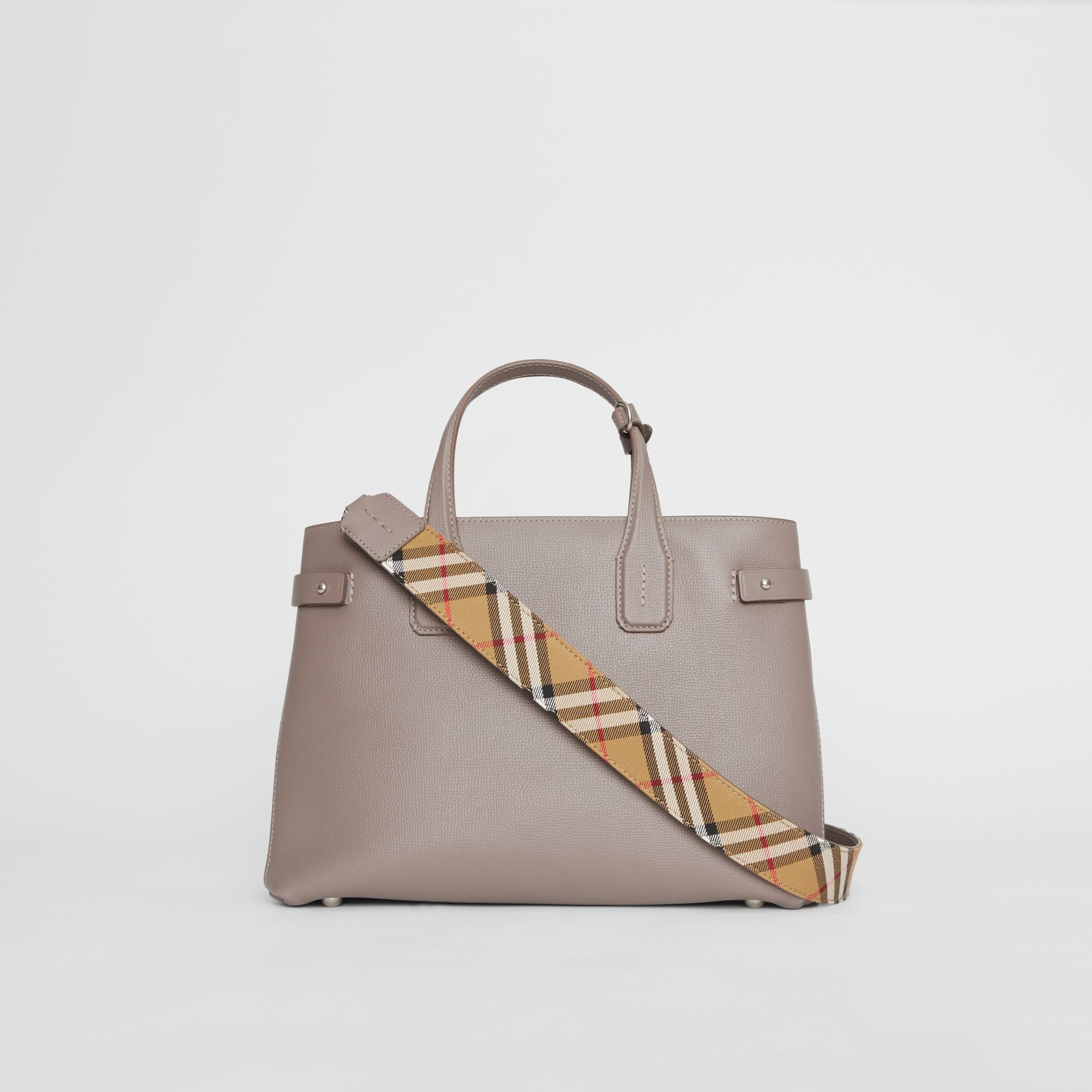 The Medium Banner in Leather and Vintage Check in Taupe Brown - Women | Burberry - gallery image 7