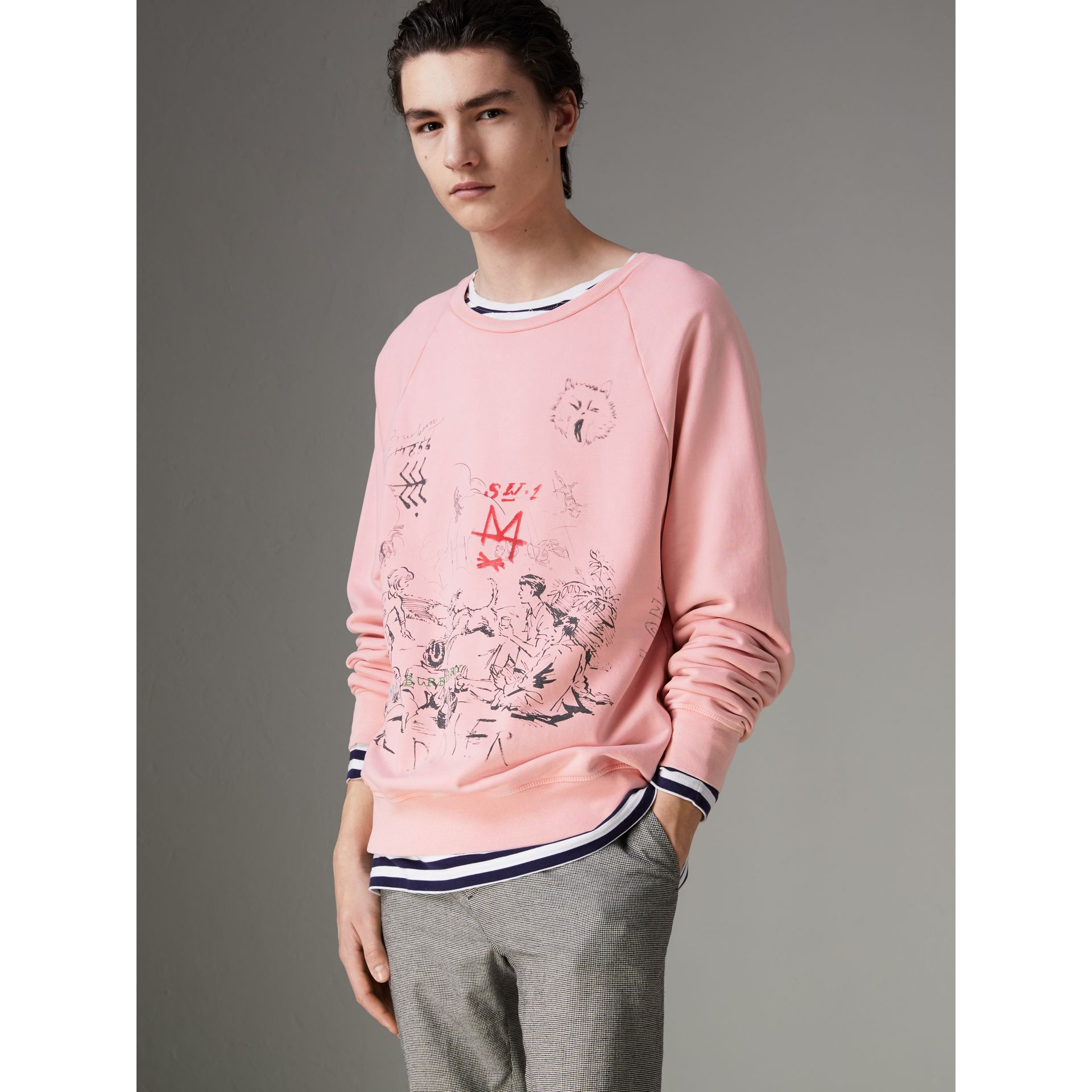 Adventure Print Cotton Sweatshirt in Light Pink - Men | Burberry - gallery image 0