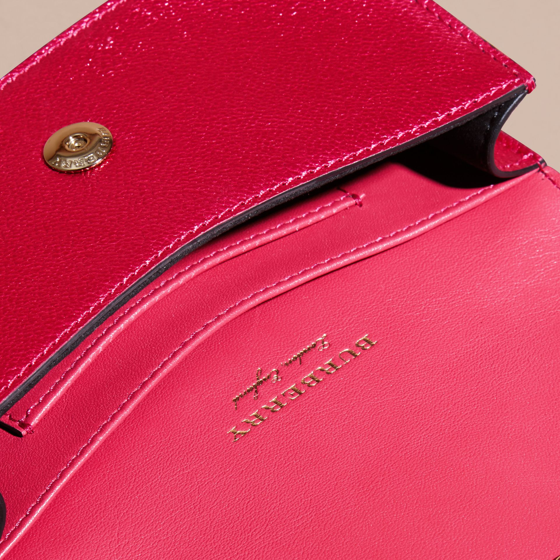 The Mini Buckle Bag in Metallic Grainy Leather in Bright Pink - gallery image 7