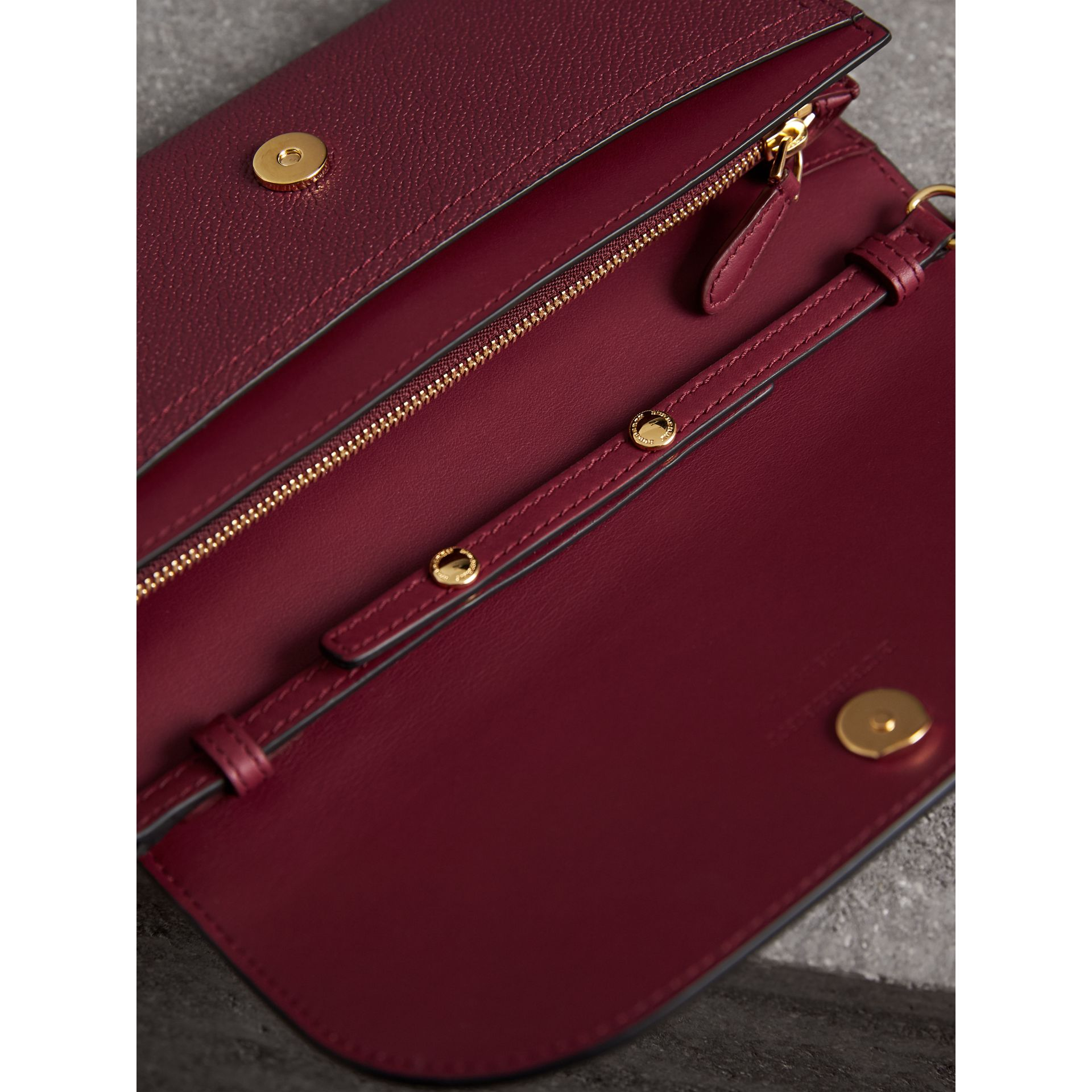 Leather Wallet with Chain in Dark Plum - Women | Burberry - gallery image 4