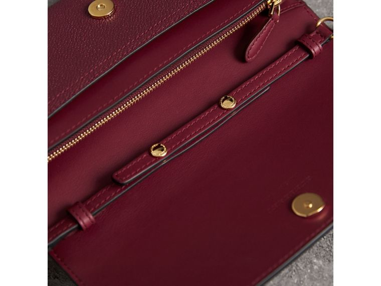 Leather Wallet with Chain in Dark Plum - Women | Burberry Canada - cell image 4