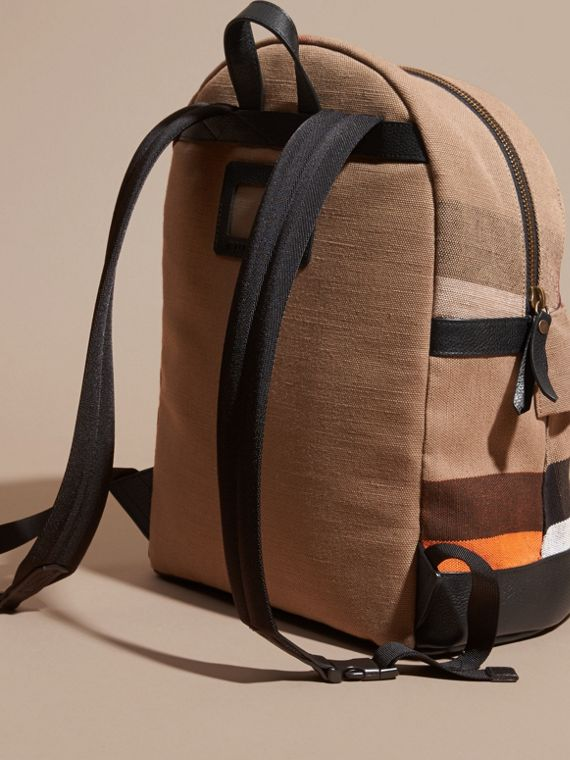 Black Colour Block Canvas Check Backpack - cell image 3
